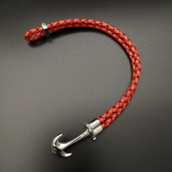Red anchor Leather Bracelet