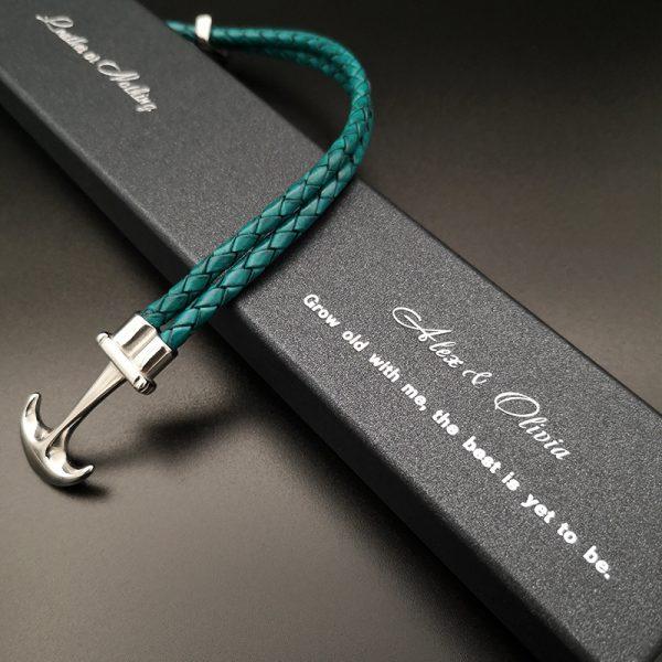 Turquoise Blue Anchor Bracelet