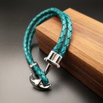 Turquoise Blue Handmade Leather Bracelet