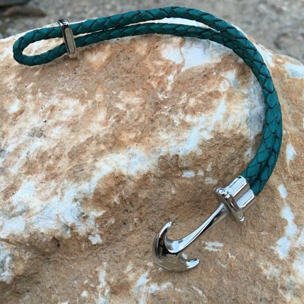 anchor leather bracelet turquoise blue