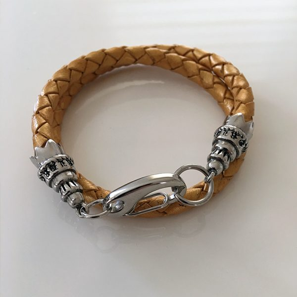 gold leather womens bracelet