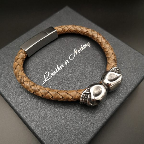 skull leather bracelets